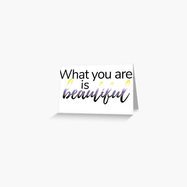 Warrior Nun 'What You Are, Is Beautiful' Non-Binary Flag Greeting Card