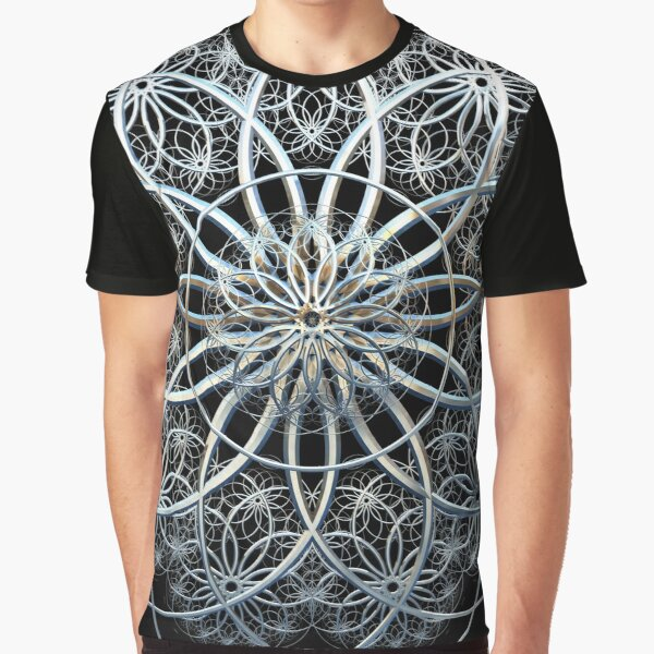 Chrome Mandala Spiro Fractal Graphic T-Shirt