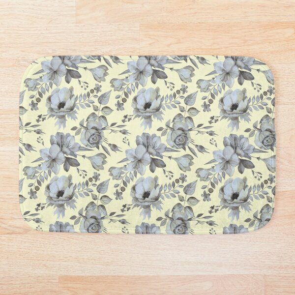Silver flowers on yellow Bath Mat