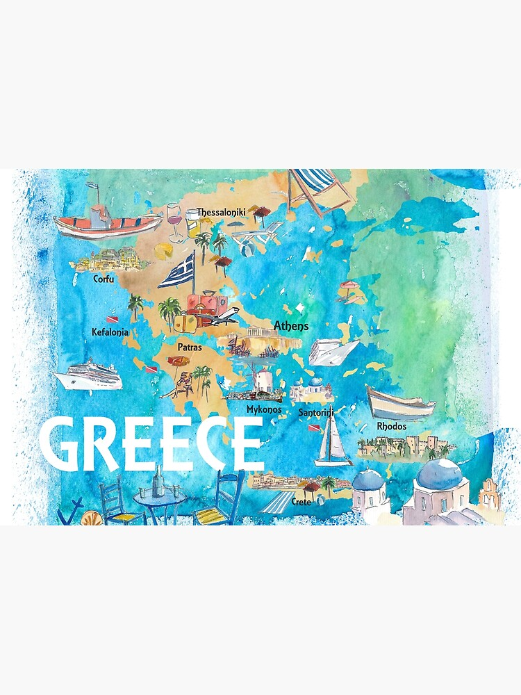 Greece Illustrated Travel Map with Landmarks and Highlights by artshop77