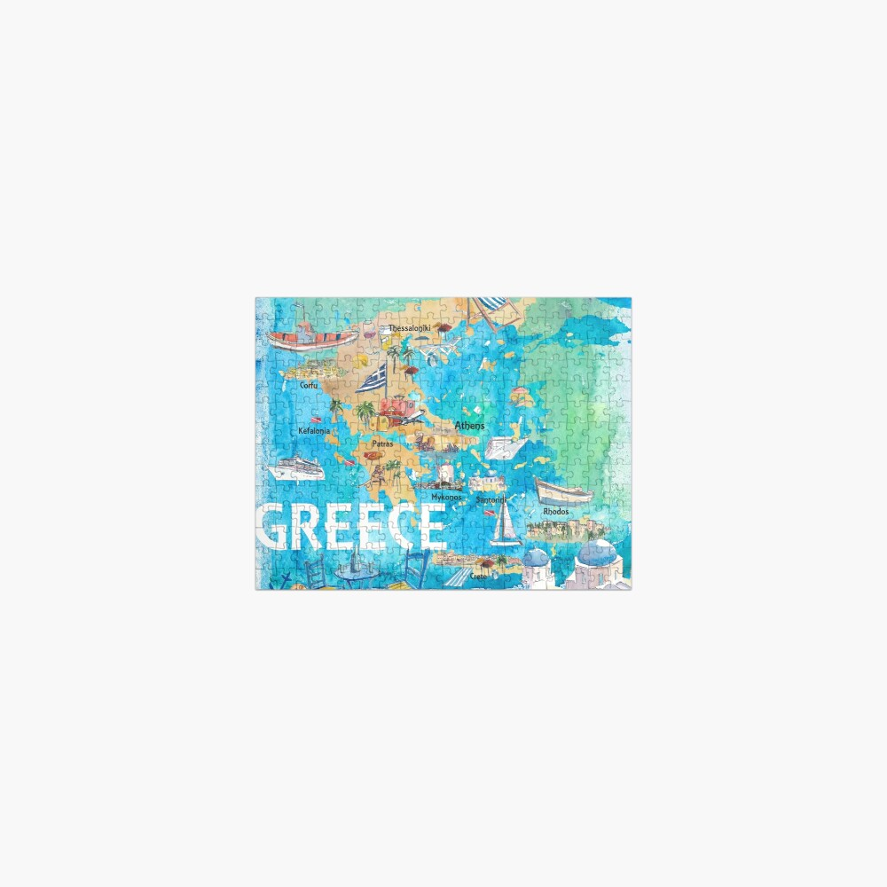 Greece Illustrated Travel Map with Landmarks and Highlights Jigsaw Puzzle