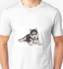Cute puppy Husky with blue eyes T-Shirt