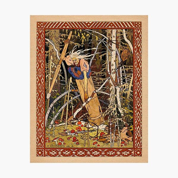 Baba Yaga - folk tales Ivan Bilibin illustration   Photographic Print