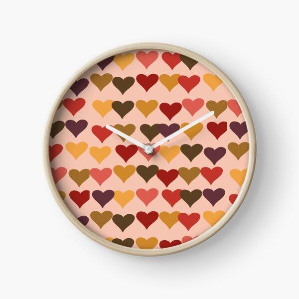 Colourful Heart Print GReeting Card Clock