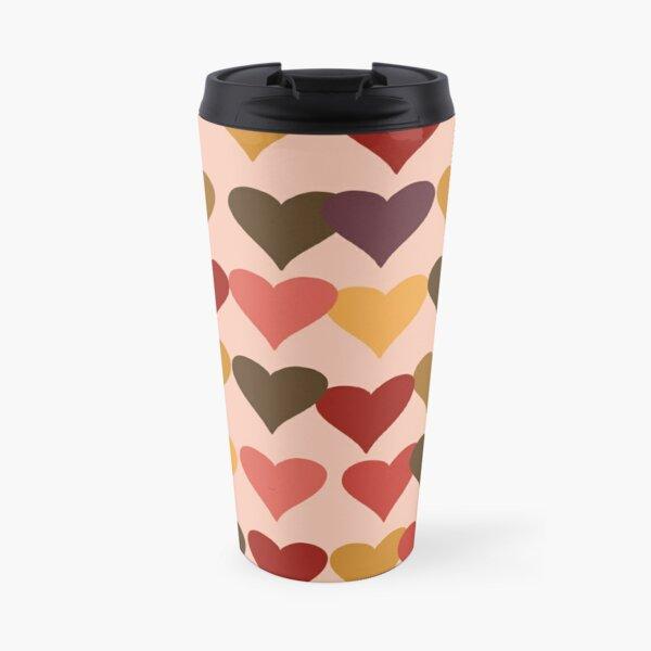 Colourful Heart Print GReeting Card Travel Mug