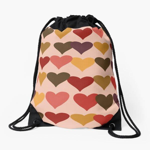 Colourful Heart Print GReeting Card Drawstring Bag