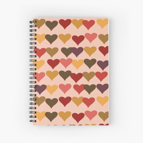 Colourful Heart Print GReeting Card Spiral Notebook