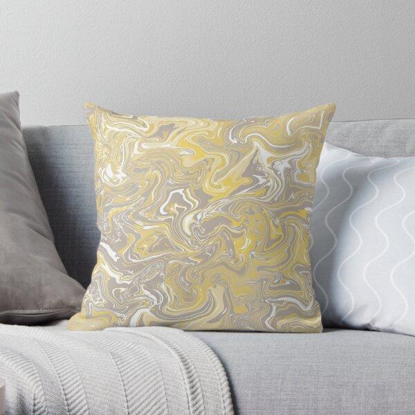 Mustard Yellow Liquify Pattern Throw Pillow