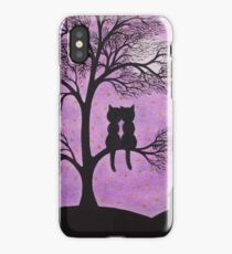 Black Cats in Tree with Moon and Stars iPhone Case/Skin