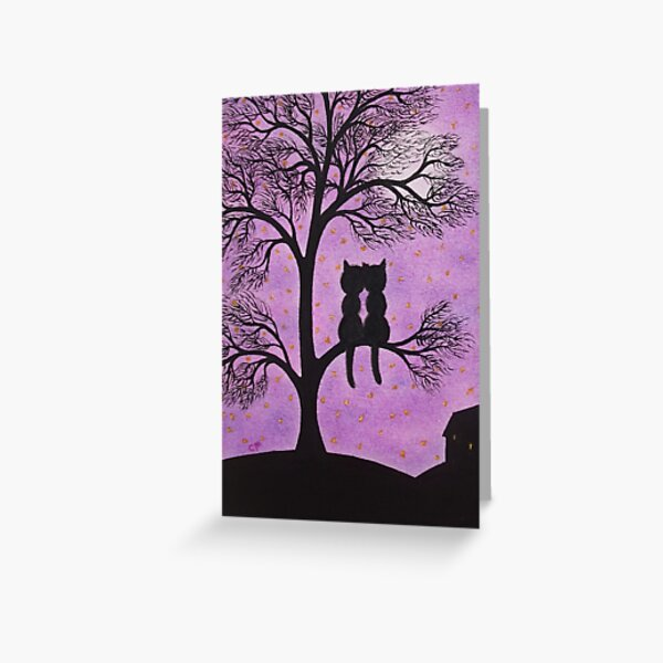 Love Cats in Tree with Moon and Stars Greeting Card