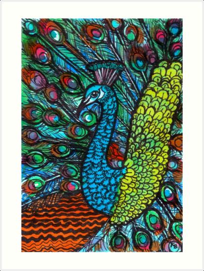 Peacock - Kerry Beazley by Kerry Beazley Kaboom Art