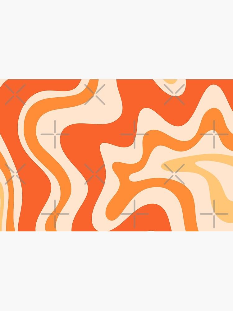 Tangerine Liquid Swirl Retro Modern Abstract Pattern by kierkegaard
