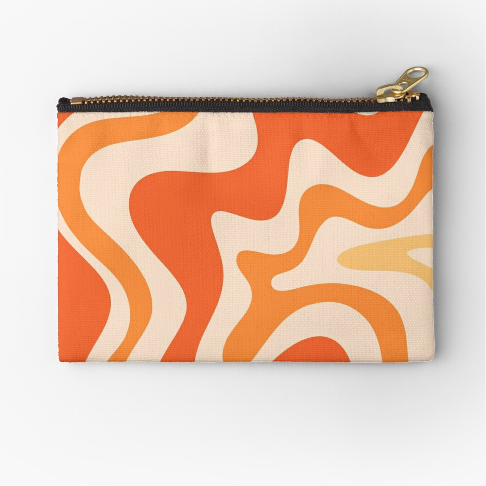 Tangerine Liquid Swirl Retro Modern Abstract Pattern Zipper Pouch