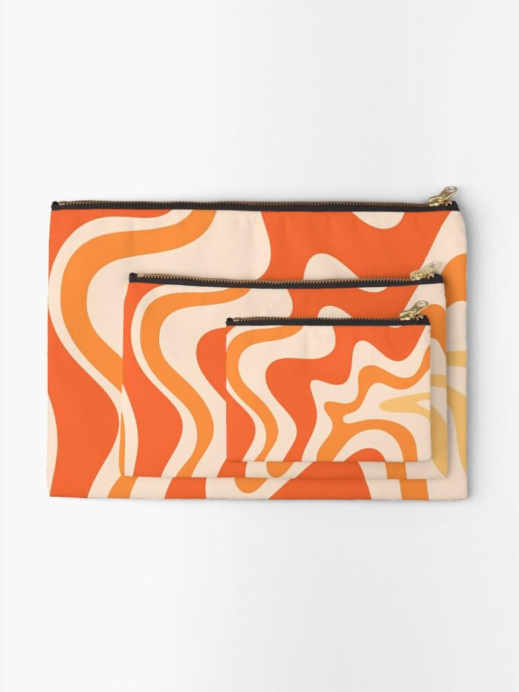 Alternate view of Tangerine Liquid Swirl Retro Modern Abstract Pattern Zipper Pouch