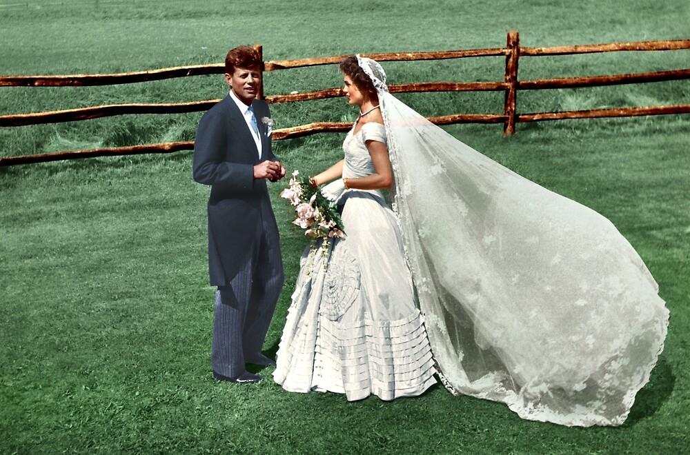 Coloized JFK & Jackie as Newly Weds 1953 by lexmil