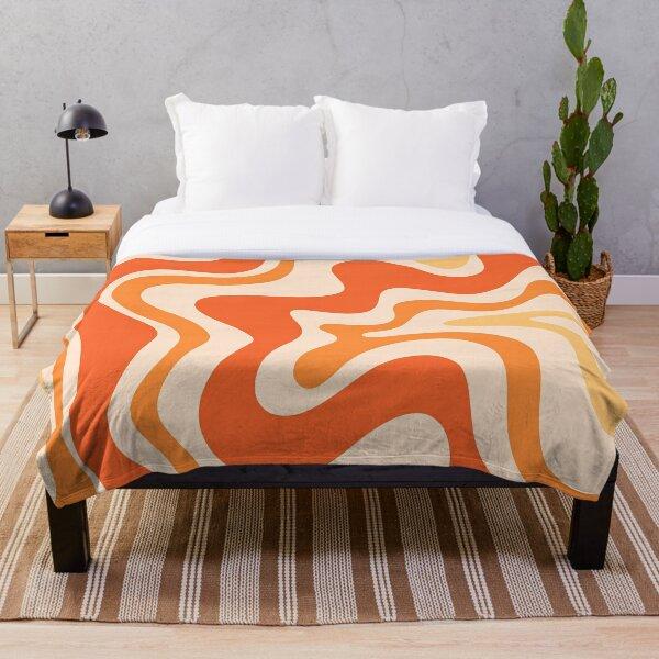 Tangerine Liquid Swirl Retro Modern Abstract Pattern Throw Blanket