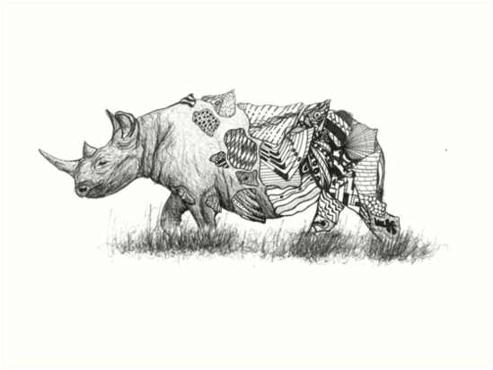 Patterned Animals Rhino Art Prints By Alex Reid Redbubble Enchanting Patterned Animals