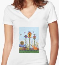Trio of Birdhouses Women's Fitted V-Neck T-Shirt
