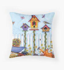 Trio of Birdhouses Throw Pillow
