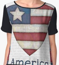 American Flag in a Heart Chiffon Top