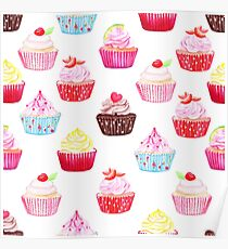 Watercolor cupcakes vector seamless pattern. Hand drawn background. Poster