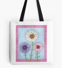 Three Watercolored Daisies Tote Bag