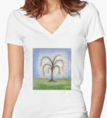 Whimsical Willow Tree Women's Fitted V-Neck T-Shirt