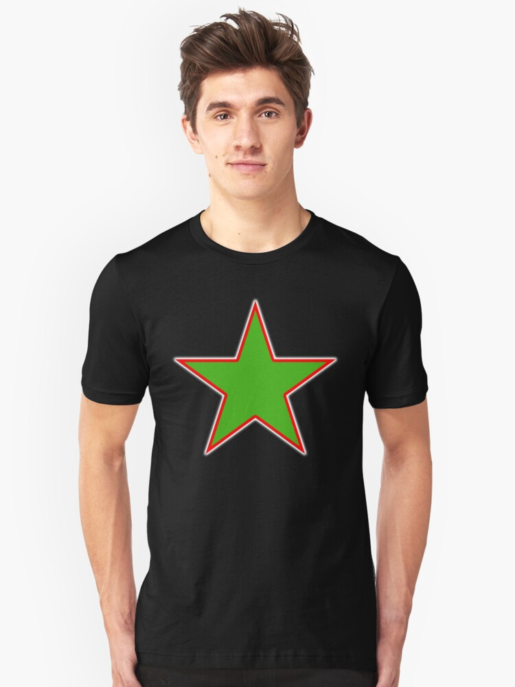GREEN, STAR, Red outline, environment, environmentalist, ecology, eco, nature, verdant, on Black Unisex T-Shirt Front
