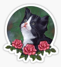 Cat with Pink Roses: Oil Pastel Art, Kitten Sticker