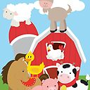 """Farm Animals Cow Pig Horse Duck Chicken Goat"""" Canvas Print by ..."""