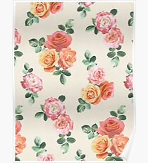 Retro Peach and Pink Roses Poster