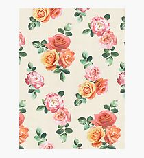 Retro Peach and Pink Roses Photographic Print