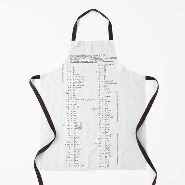 Physics Prints, #Physics #Formula #Set, #length, distance, height, area, volume, time, speed, velocity, area rate, diffusion coefficient Apron