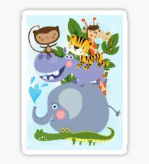 Zoo Safari Wild Animals Giraffe Elephant Monkey Hippo Tiger Sticker