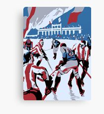 Retro style Ice hockey red white blue Canvas Print