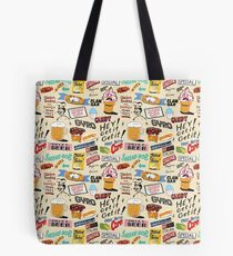 Coney Island Food Sign Pattern - Cream  Tote Bag