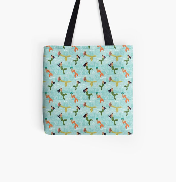 Coney Island Mermaid Pattern All Over Print Tote Bag