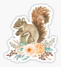 Woodland Floral Squirrel  Sticker