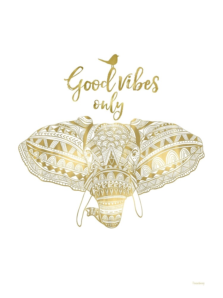 Good vibes only Golden elephant by Pranatheory