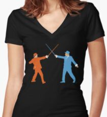 Dumb and Dumber On Guard!  Women's Fitted V-Neck T-Shirt