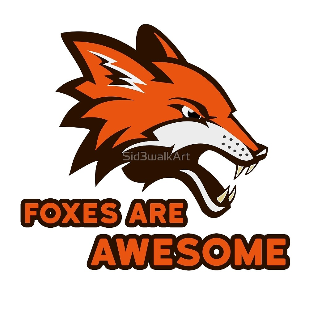 Foxes Are Awesome Cool Retro Cheesy Trashy Clip Art by Sid3walkArt