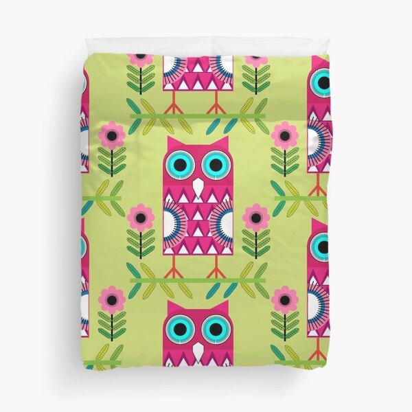 Scandinavian Art - Scandinavian Folk Art - Swedish Folk Art - Home Decor Folk Art - Owls Duvet Cover