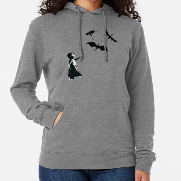 Banksy's Girl With a Balloon/Dragon Lightweight Hoodie