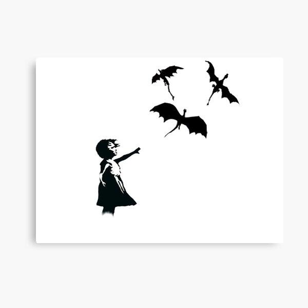 La chica de Banksy con un globo / dragón Lienzo