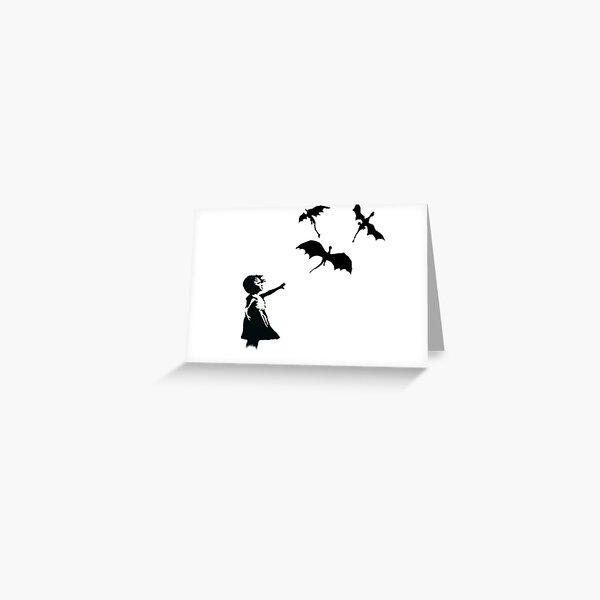 La fille de Banksy avec un ballon / dragon Carte de vœux