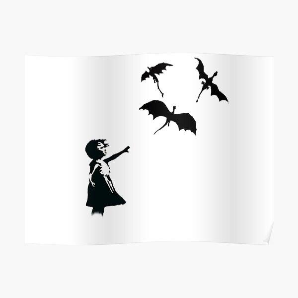 La fille de Banksy avec un ballon / dragon Poster
