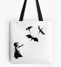 Banksy's Girl With a Balloon/Dragon Tote Bag