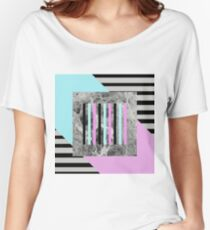 Bold Marble Stripes - Abstract Geometric Art In Block Pink And Teal, Marble Black And Black Stripes Women's Relaxed Fit T-Shirt