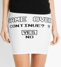Game Over Continue Gaming Retro Old School 90s  Mini Skirt