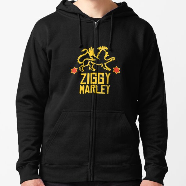 Ziggy Marley Official Merchandise - Lion Logo Stars Zipped Hoodie